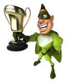 Fun superhero with trophy — Stock Photo