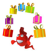 Fun fish with gifts — Stock Photo