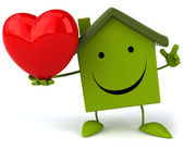 Green house and red heart — Stock Photo