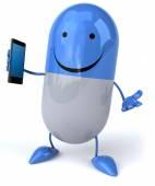 Fun pill with smart phone — Stock Photo