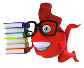 Fun fish with stack of books — Stock Photo
