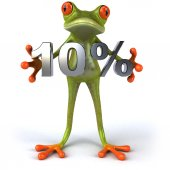 Fun frog with 10 percent sale — Stock Photo