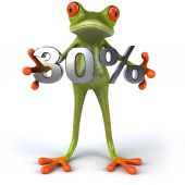 Fun frog with 30 percent sale — Stock Photo