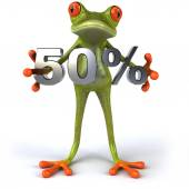 Fun frog with 50 percent sale — Stock Photo
