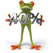 Fun frog with 40 percent sale — Stock Photo