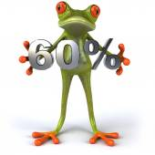 Fun frog with 60 percent sale — Stock Photo