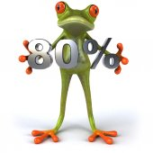Fun frog with 80 percent sale — Stock Photo