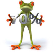 Fun frog with 70 percent sale — Stock Photo