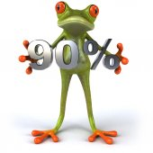 Fun frog with 90 percent sale — Stock Photo