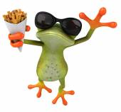 Fun frog with french fries — Stock Photo