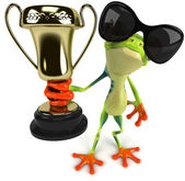 Fun frog in sunglasses with trophy — Stock Photo
