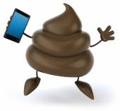 Poop with smart phone — Stock Photo