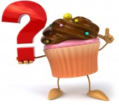 Cupcake with question mark — Stock Photo