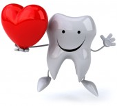 Fun tooth with red heart — Stock Photo