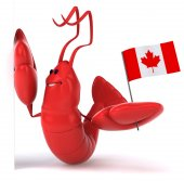 Fun lobster with Canadian flag — Stock Photo