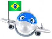 Fun plane with Brazilian flag — Stock Photo
