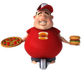 Overweight kid with junk food — Stock Photo