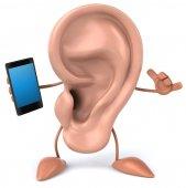 Plaisir des oreilles avec téléphone — Photo