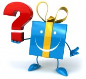 Fun gift and question mark — Stock Photo