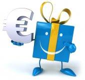Fun gift and euro sign — Stock Photo