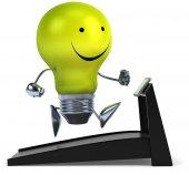 Light bulb on treadmill — Stockfoto