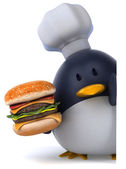 Fun penguin and burger — Stock Photo