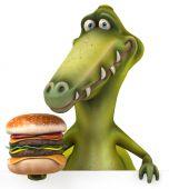 Fun dinosaur with burger — Stock Photo