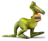 Fun dinosaur with burger — Stock Photo