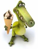 Fun dinosaur with ice cream — Stock Photo