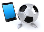 Football ball with cell phone — Zdjęcie stockowe