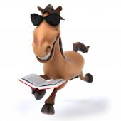 Fun horse read a book — Stock Photo