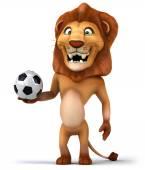 Fun lion with football ball — Stock Photo