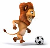 Fun lion with football ball — Stock Photo