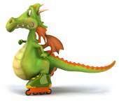 Fun dragon on roller blades — Stockfoto