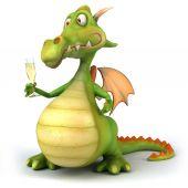 Fun dragon with champagne — Stock Photo