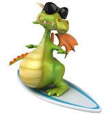 Fun dragon on surfing board — Stock Photo