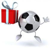 Pelota de futbol con regalo — Foto de Stock