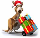 Fun kangaroo with gifts — Stok fotoğraf