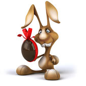 Fun rabbit with Easter egg — Stock Photo