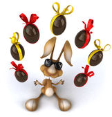 Fun rabbit with Easter eggs — Foto Stock