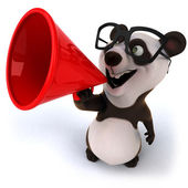 Fun panda with loudspeaker — Stock Photo