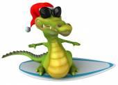 Fun crocodile on surfing board — Stock Photo