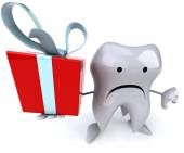 Fun tooth with gift — Photo