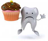 Tooth with cupcake — Foto de Stock