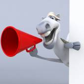 Fun horse with red loudspeaker — Stock Photo