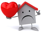 Sad house with red heart — Stock Photo