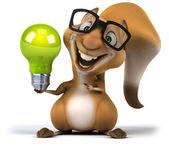 Fun squirrel with lamp — Stock Photo