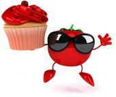 Fun tomato and cupcake — Stock Photo