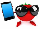 Fun tomato with smart phone — Стоковое фото