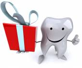 Fun tooth with gift — ストック写真
